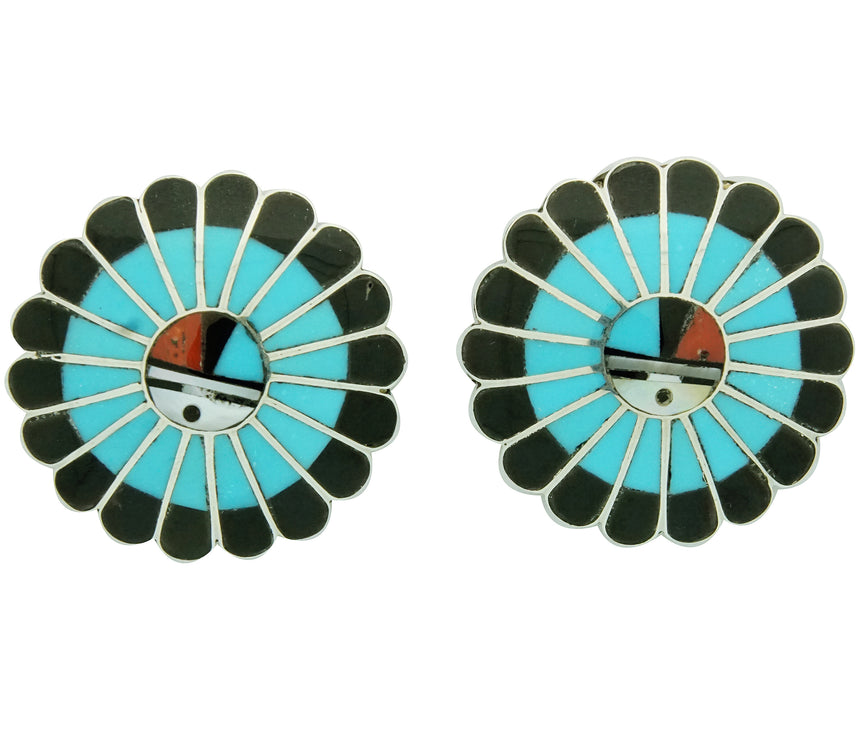 Burdian Soseeah, Earrings, Post, Multi Stone Inlay, Zuni Handmade, 1 1/4