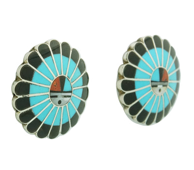 Load image into Gallery viewer, Burdian Soseeah, Earrings, Post, Multi Stone Inlay, Zuni Handmade, 1 1/4""