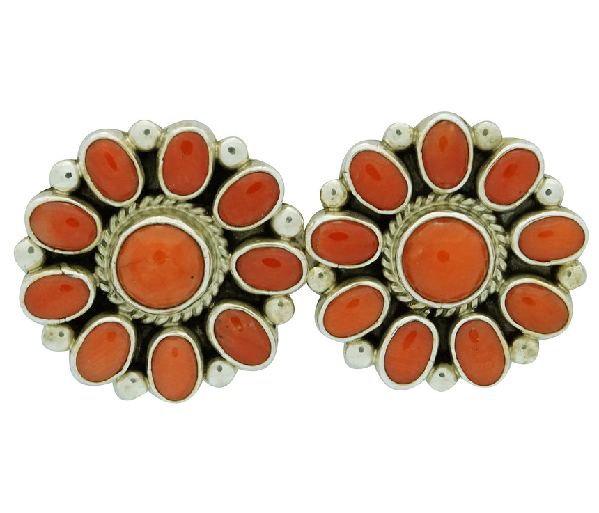 Verdy Jake, Earrings, Pierced, Mediterranean Coral, Silver, Navajo Handmade, 1