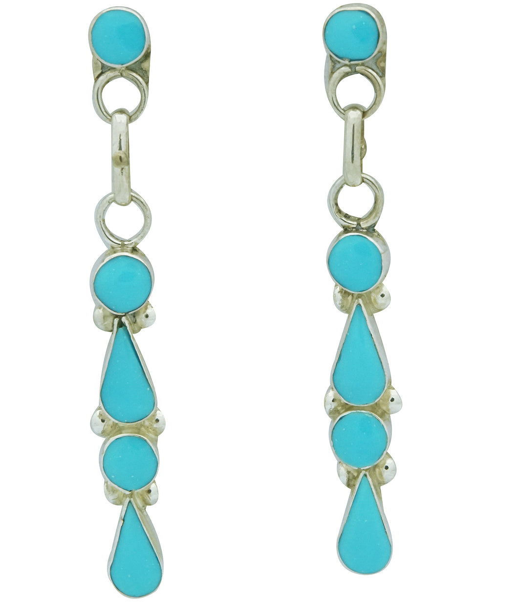 Iva Niiha, Dangle Earrings, Sleeping Beauty Turquoise, Zuni Handmade, 2 1/8