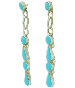 Iva Niiha, Dangle Earrings, Sleeping Beauty Turquoise, Zuni Handmade, 2 1/8""