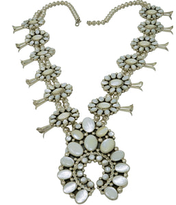 Melvin, Tiffany Jones, Necklace, Squash Blossom, Mother of Pearl, Navajo, 30""