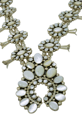 Load image into Gallery viewer, Melvin, Tiffany Jones, Necklace, Squash Blossom, Mother of Pearl, Navajo, 30""