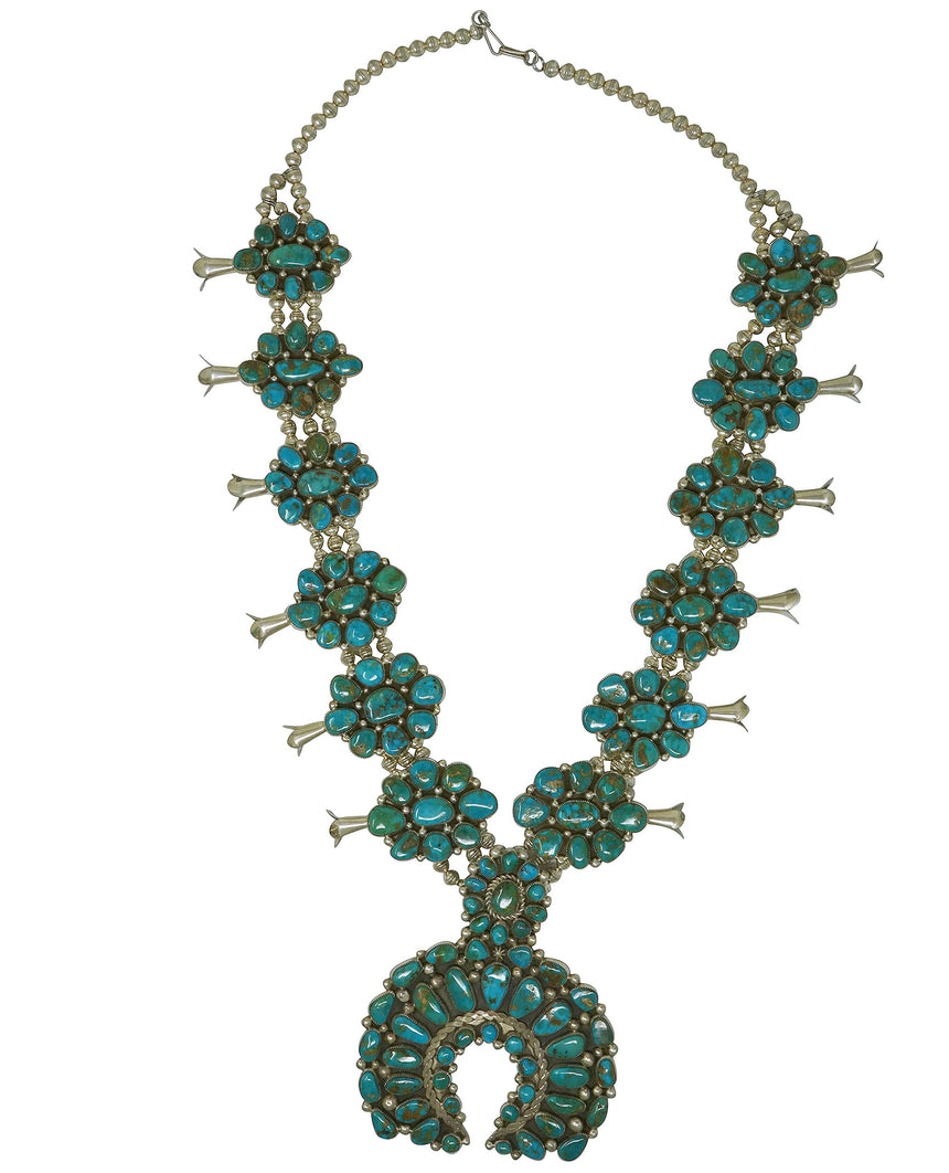 Melvin, Tiffany Jones, Necklace, Squash Blossom, Blue Gem Turquoise, Navajo, 30