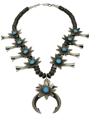 Load image into Gallery viewer, Aaron John, Necklace, Flower Blossom, Kingman Turquoise, Navajo Made, 26""