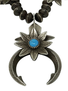Aaron John, Necklace, Flower Blossom, Kingman Turquoise, Navajo Made, 26""