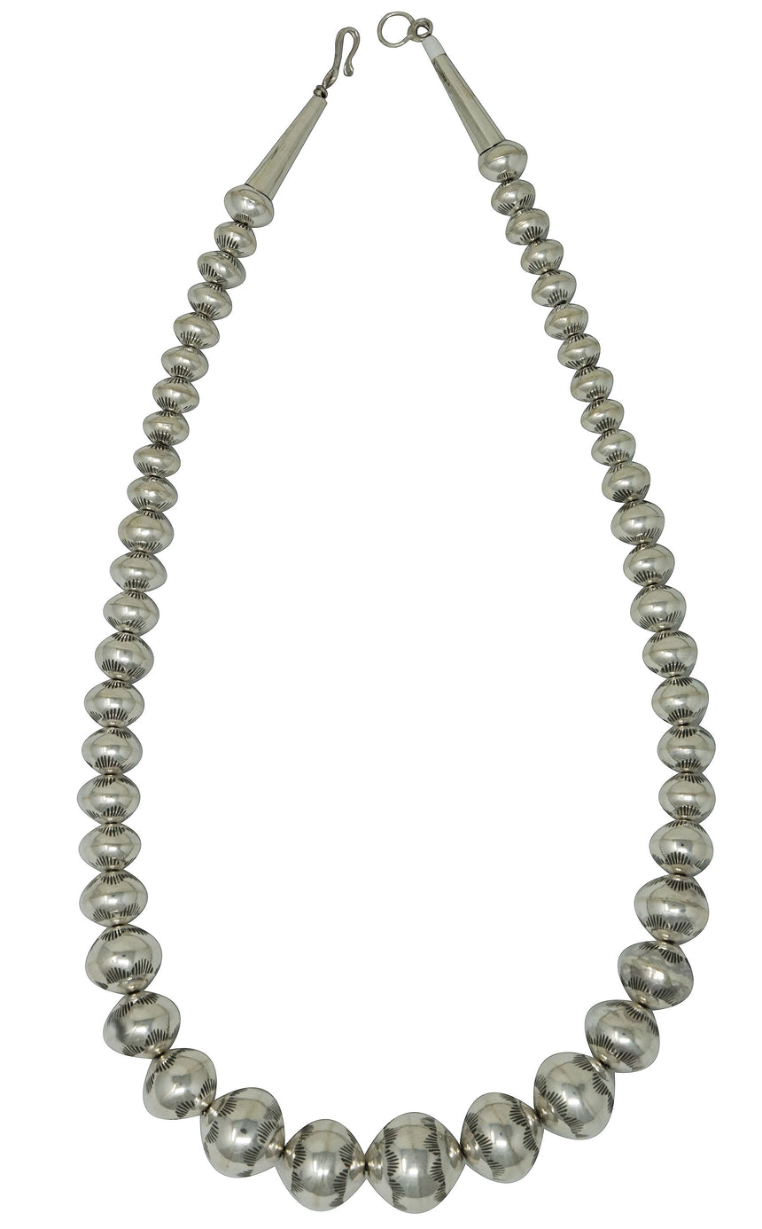 Jeffrey Nelson, Bead Necklace, Graduating, Sterling Silver, Navajo Handmade, 21