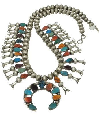 Load image into Gallery viewer, Selena Warner, Squash Bllossom Necklace, Multi Stone, Navajo Handmade, 24""