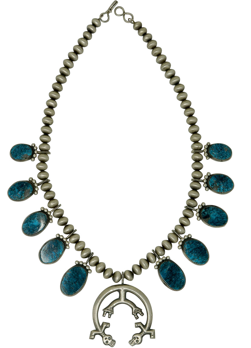 Selena Warner, Squash Blossom Necklace, Turquoise, Navajo Handmade, 22