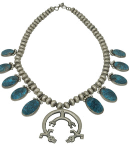 Selena Warner, Squash Blossom Necklace, Turquoise, Navajo Handmade, 22""