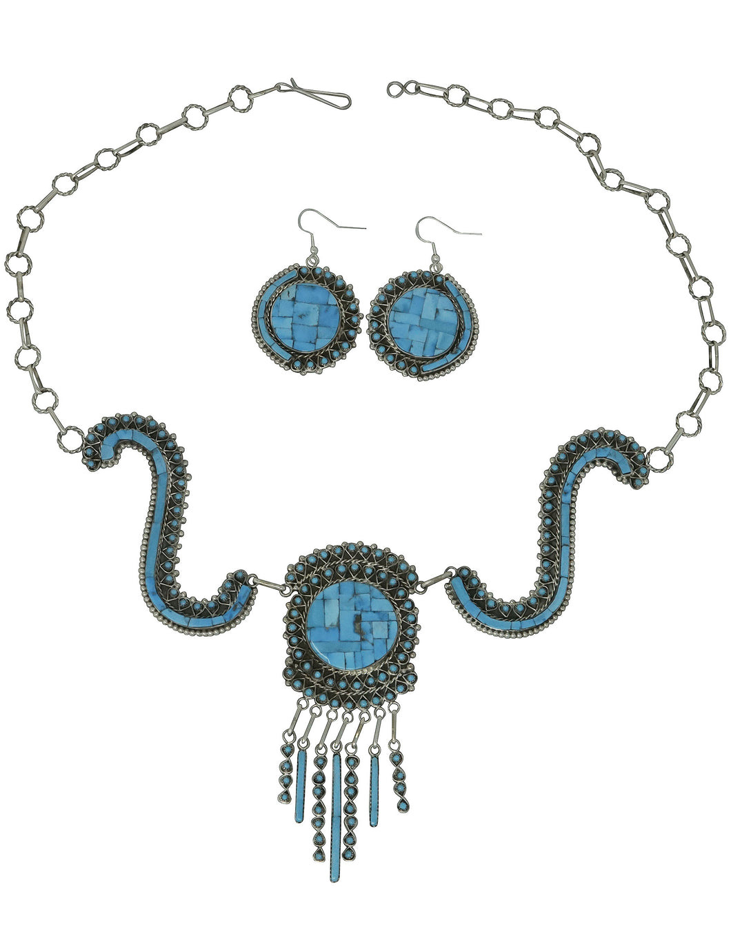 Jesse Johnson, Necklace, Earrings, Turquoise, Petit Point, Inlay, Zuni Made, 26