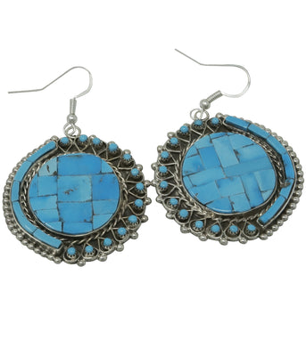 Load image into Gallery viewer, Jesse Johnson, Necklace, Earrings, Turquoise, Petit Point, Inlay, Zuni Made, 26""