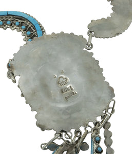 Jesse Johnson, Necklace, Earrings, Turquoise, Petit Point, Inlay, Zuni Made, 26""