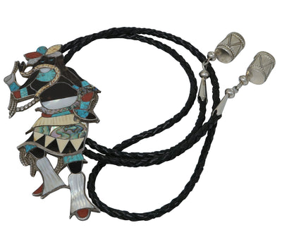 Load image into Gallery viewer, Eddie Beyuka, Bolo Tie, Snake Dancer, Inlay, Zuni Handmade, Circa 1960s, 44""