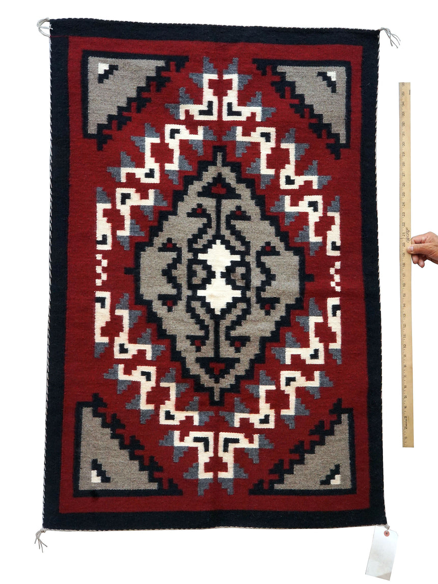 Linda Joe, Ganado Red, Single Diamond, Navajo Handwoven, 48