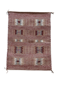 "Lucy Wilson, Two Faced Blanket, Navajo Handwoven, 82 Year Old Weaver, 31"" x 23"""