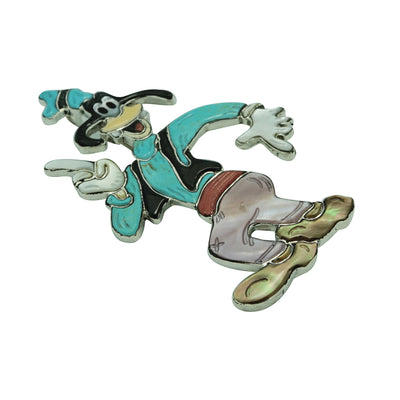 "Load image into Gallery viewer, Zuni Handmade Pin, Pendant, Goofy Dog Character, Multi Stone Inlay, 3 1/2"" x 2"""