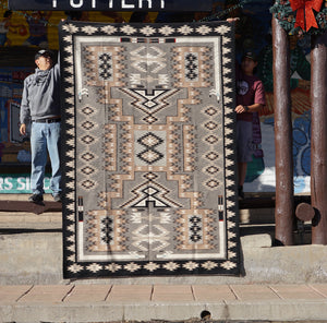 "Circa 1980s, Navajo Handwoven Rug, Storm Pattern, Private Collection, 118"" x 88"""