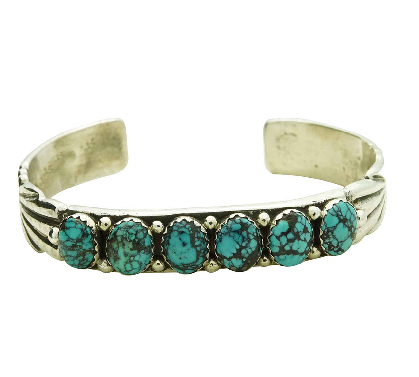 Carole, Wilson Begay, Sandcast Bracelet, Chinese Turquoise, Navajo Made, 6.5