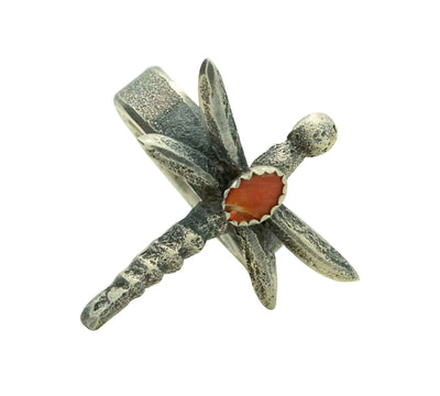 Load image into Gallery viewer, Gary Custer, Ring, Red Mediterranean Coral, Dragonfly, Navajo Handmade, 9