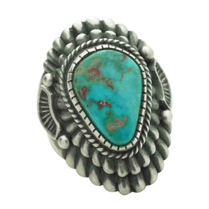 Harry H Begay, Ring, Blue Gem Turquoise, Silver, Navajo Handmade, 9