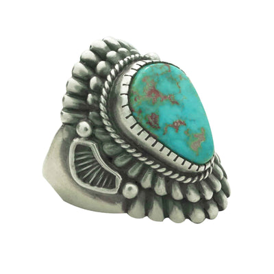 Load image into Gallery viewer, Harry H Begay, Ring, Blue Gem Turquoise, Silver, Navajo Handmade, 9