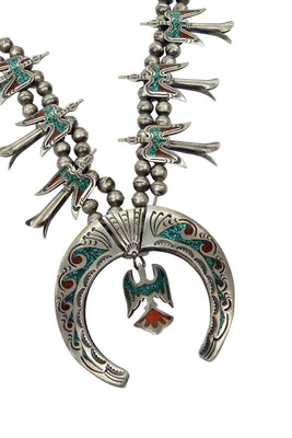 Load image into Gallery viewer, Navajo Necklace, Chip Inlay, Peyote Birds, Turquoise, Coral, Circa 1970s, 26in