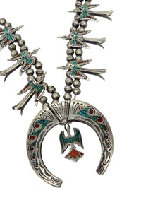 Navajo Necklace, Chip Inlay, Peyote Birds, Turquoise, Coral, Circa 1970s, 26in