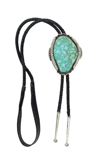Tim Yazzie, Bolo, Natural Turquoise Mountain, Silver, Navajo Handmade, Circa 1970s, 3.5