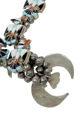 Load image into Gallery viewer, LL Shetima, Necklace, Ring, Bracelet, Thunderbird, Zuni Made, Circa 1980s, 26in
