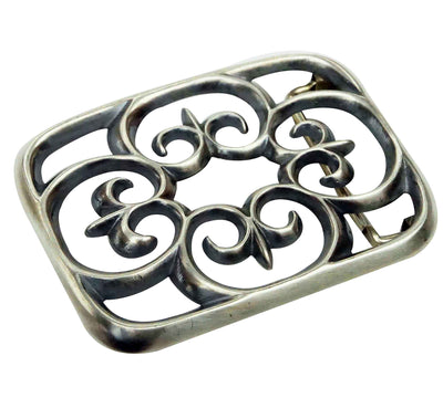 Load image into Gallery viewer, Carole, Wilson Begay, Buckle, Sandcast, All Silver Design, Navajo Handmade, 1.5