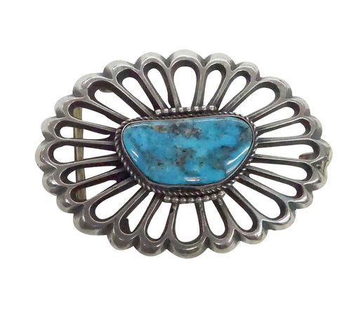 Carole, Wilson Begay, Buckle, Silver Blossom, Kingman Turquoise, Navajo, 1.5