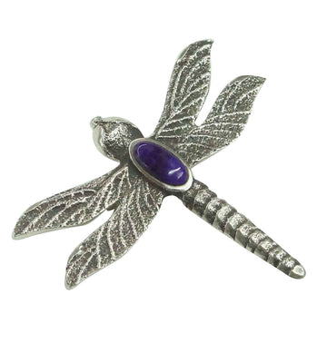 Load image into Gallery viewer, Kelsey Jimmie, Pin, Sugilite, Dragonfly, Tufa Cast, Navajo Handmade, 2 1/8""