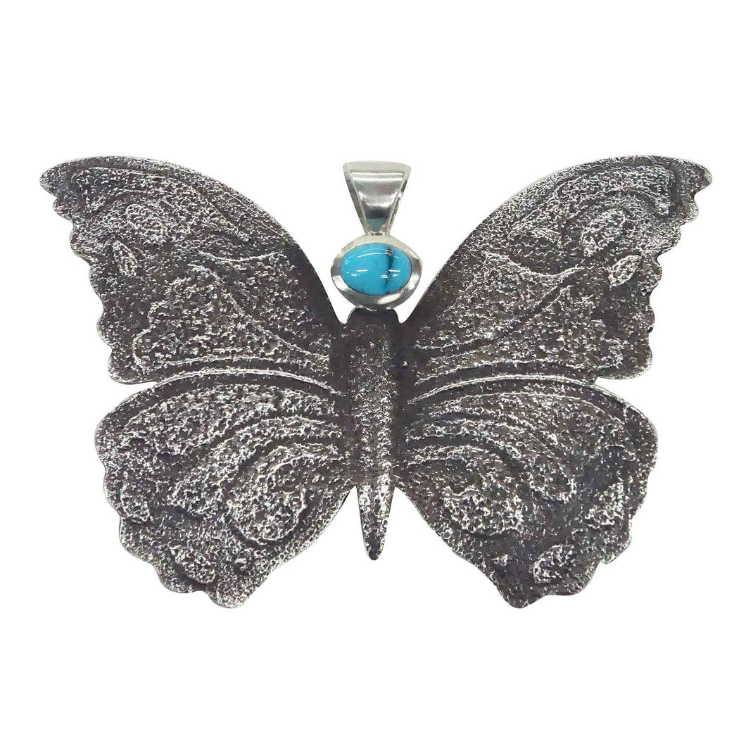 Kelsey Jimmie, Pendant, Butterfly Design, Lone Mountain Turquoise, Navajo, 2