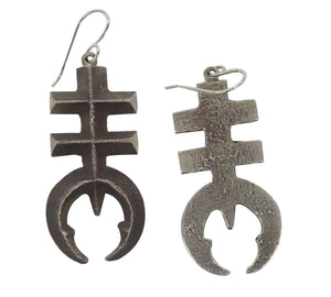 Aaron John, Earrings, Old Style Pueblo Dragonfly, Tufa, Navajo Handmade, 2 3/8""
