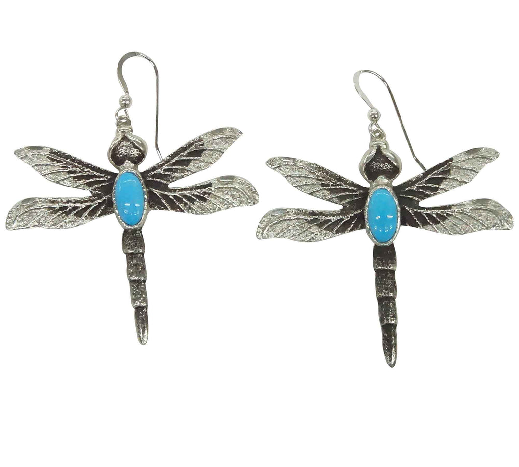 Kelsey Jimmie, Earrings, French Hook, Dragonfly, Turquoise, Navajo Made, 2 1/4