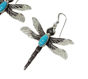 Kelsey Jimmie, Earrings, French Hook, Dragonfly, Turquoise, Navajo Made, 2 1/4""