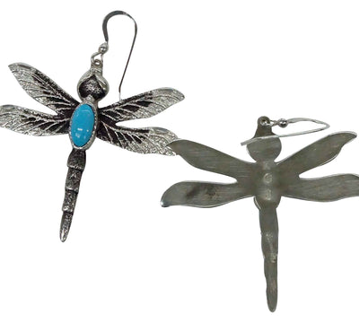 Load image into Gallery viewer, Kelsey Jimmie, Earrings, French Hook, Dragonfly, Turquoise, Navajo Made, 2 1/4""