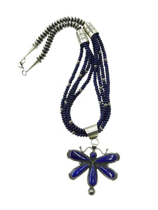 Hemerson Brown, Necklace, Dragonfly, Lapis Lazuli, Navajo Handmade, 30""