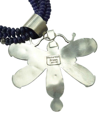 Load image into Gallery viewer, Hemerson Brown, Necklace, Dragonfly, Lapis Lazuli, Navajo Handmade, 30""