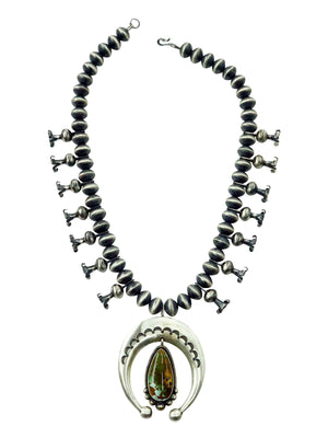 Load image into Gallery viewer, Ernest Roy Begay, Squash Blossom Necklace, Royston Turquoise, Navajo Made, 26""