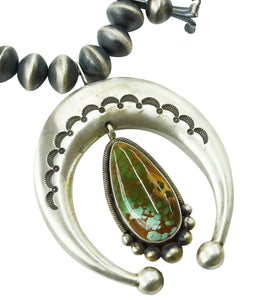 Ernest Roy Begay, Squash Blossom Necklace, Royston Turquoise, Navajo Made, 26""