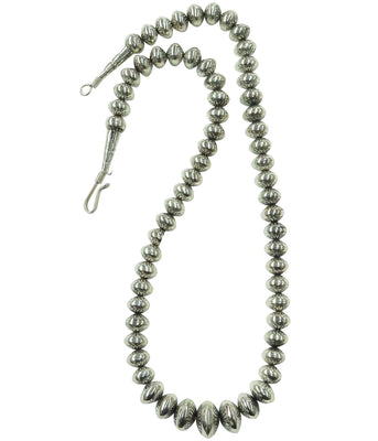Load image into Gallery viewer, Delayne Reeves, Necklace, Graduated Silver Beads, Stamped, Navajo Handmade, 30""