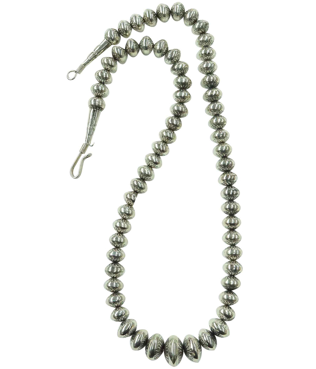 Delayne Reeves, Necklace, Graduated Silver Beads, Stamped, Navajo Handmade, 30