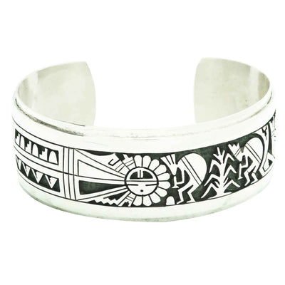 Load image into Gallery viewer, Berra Tawahongya, Cuff, Sunface, Kokopelli, Sterling Silver, Hopi Made, 6 5/8""