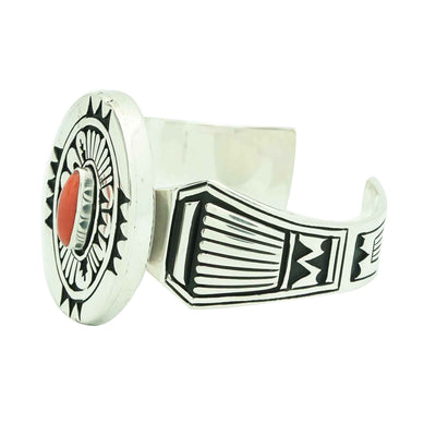 Load image into Gallery viewer, Kary Begay, Bracelet, Mediterranean Coral, Silver Overlay, Navajo Made, 6 3/4""