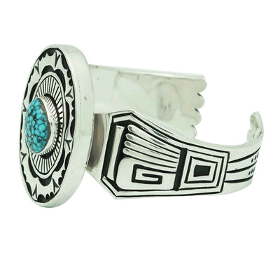 Load image into Gallery viewer, Kary Begay, Bracelet, Kingman Turquoise, Black Web, Navajo Handmade, 6 3/4""