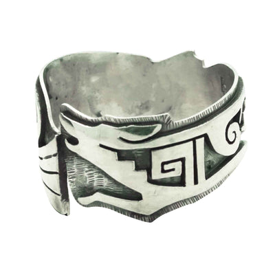 Load image into Gallery viewer, Berra Tawahongya, Ring, Kokopelli, Fox, Silver Overlay, Hopi Handmade, 11