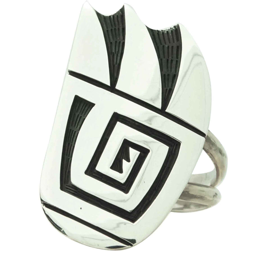 Frank Lahaleon, Ring, Bear Claw, Sterling Silver Overlay, Hopi Handmade, 9 _
