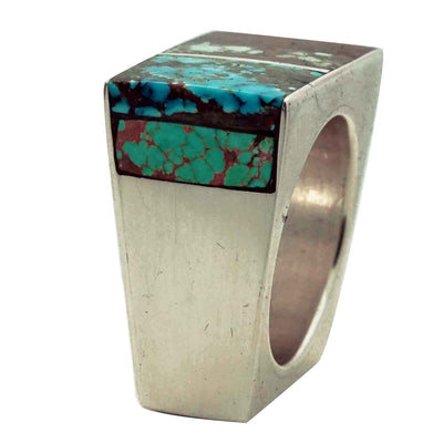 Load image into Gallery viewer, Roy Tracy, Ring, Inlay, Turquoise, Iron Wood, Box Design, Navajo Handmade, 10